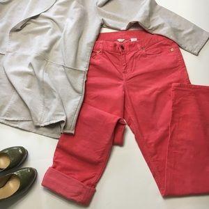 J. Crew City Fit Corduroy Pants, Pink, Coral